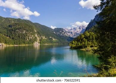 Lake side view at midday, Dachtstein in austria