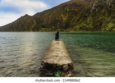 Lake situated in the crater of a dormant volcano on the Portuguese archipelago of the Azores. Beautiful scenery, gorgeous background. It's a clean freshwater source in this beautiful paradise.