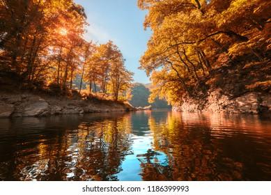 Ružín lake Slovakia Košice in autumn, scenic peacefull lake from a boat