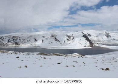 Lake and snow mountain in Bolivia