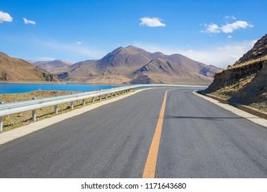 Lake snow mountain road