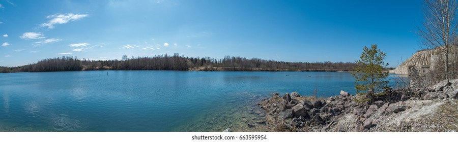 Lake at spring. Rummu lake, Estonia