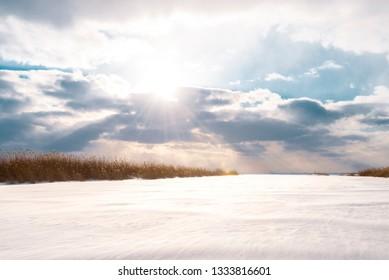 Lake St Clair frozen lake sunset