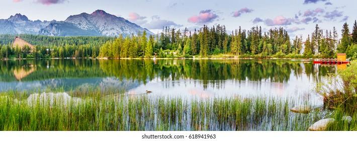 Lake Strbske pleso in High Tatras mountain, Slovakia, Europe
