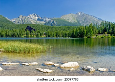 Lake Strbske pleso with mountain on the background in the Slovakia during the sunny day