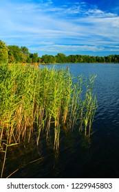 Lake summer landscape over the Wejsunek lake in Wejsuny in Masuria region in Poland