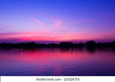 the lake with summer sky, Suan Luang Rama 9 Of Thailand, background