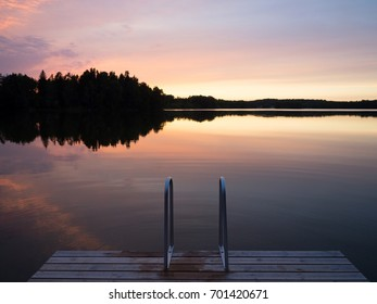 Lake at sunset, Finland