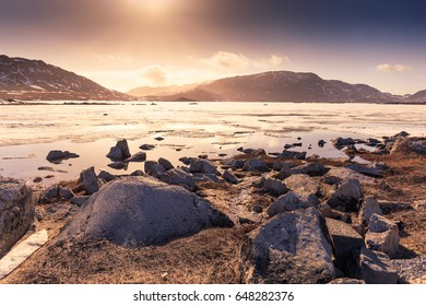 Lake of the sunset at Greenland, Qaqortoq