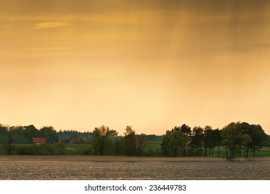 Lake with sunset landscape