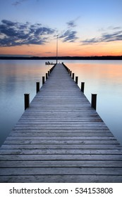 Lake at Sunset, Long Wooden Pier