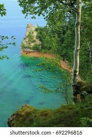 Lake Superior coastline/pictured rocks national lakeshore/miners castle rock