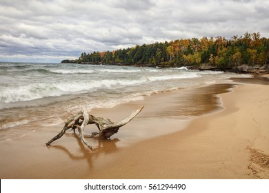 Lake Superior shoreline accentuated by the fall colors