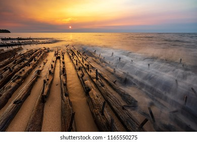 Lake Superior sunset, over Michigan's Graveyard Coast, & the bones of shipwrecks on Au Sable Point near Grand Marais. These are the mixed remains of the Sitka and Grand Staples two-masted freighters