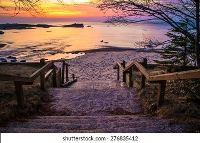 Lake Superior Sunset. Stairs leading to a beautiful Lake Superior sunset beach at the Hurricane River Campground in Pictured Rocks National Lakeshore.