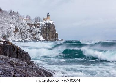 Lake Superior waves roll onto the shoreline at Split Rock Lighthouse
