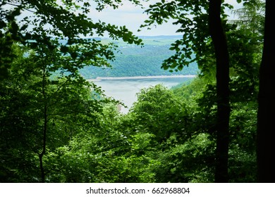 Lake surrounded with forest from higher viewpoint with hills and a blue sky in the background