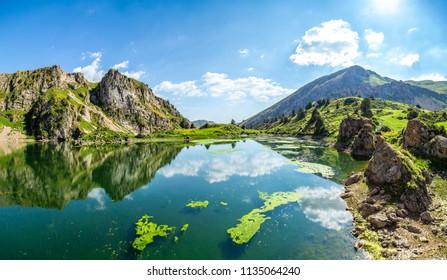 Lake Susingen high in the mountains of Kazakhstan.