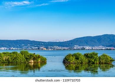 Lake Suwa in Nagano, Japan.