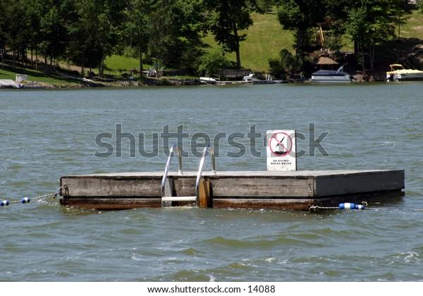 lake swimming platform