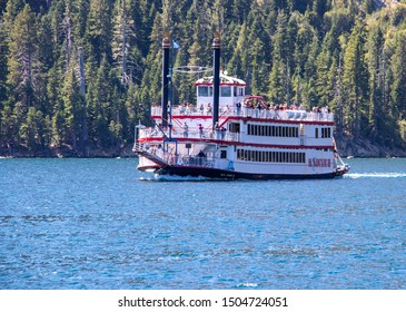 Lake Tahoe, California / USA - 09/10/2019: View of the Paddleboat MS Dixie II Cruising on Lake Tahoe