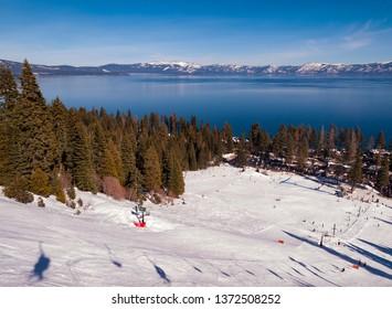 LAKE TAHOE, CALIFORNIA, USA - JANUARY 15, 2011: View of Lake Tahoe from ski slope at Homewood Mountain Resort ski area.