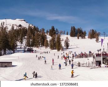 LAKE TAHOE, CALIFORNIA, USA - JANUARY 16, 2011: SquawValley Ski Area.