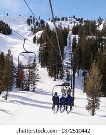 LAKE TAHOE, CALIFORNIA, USA - JANUARY 16, 2011: Ski Area chair lift
