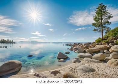 Lake Tahoe east shore beach, calm turquoise water in sunny day