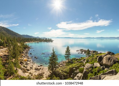 Lake Tahoe east shore overview near Sand Harbor in sunny day