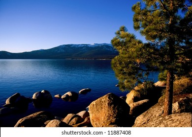 Lake Tahoe is a large freshwater lake in the Sierra Nevada mountains of the United States. It is located along the border between California and Nevada, west of Carson City, Nevada.