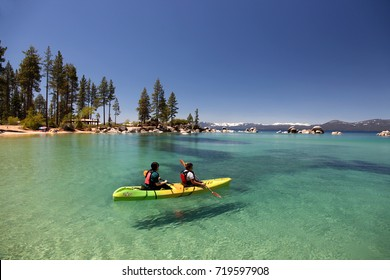 Lake Tahoe - May 25, 2017 : Canoeing on East shore