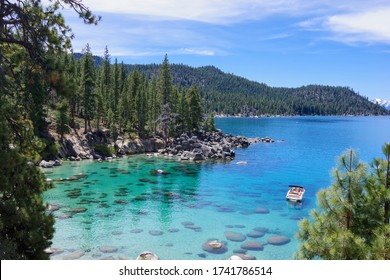 Lake Tahoe from the Nevada side on a clear, sunny day. May 2020.