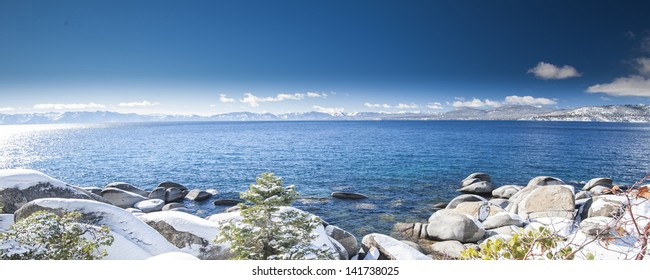Lake Tahoe on clear blue sky