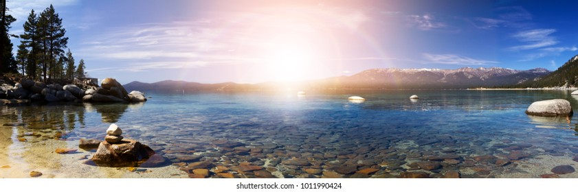 Lake Tahoe Panoramic Sunset Landscape in California
