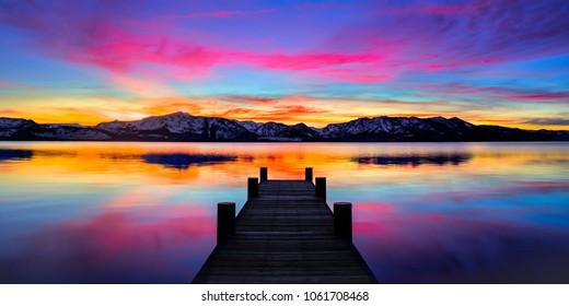 Lake Tahoe Pier Sunset