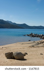 Lake Tahoe and shoreline at Sand Harbor