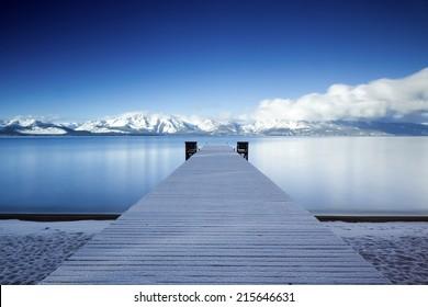 Lake Tahoe Snowy Pier