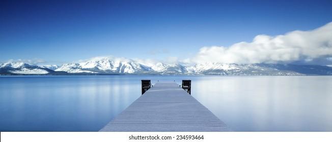 Lake Tahoe Snowy Pier Panorama