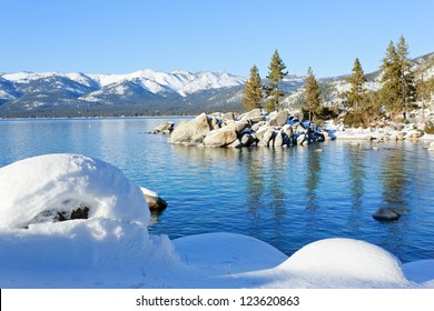 Lake Tahoe in sunny winter