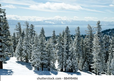 Lake Tahoe view from the mountain on Ski Resort