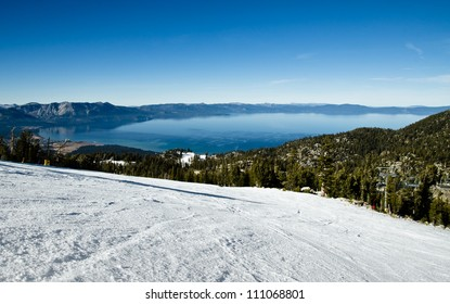 Lake Tahoe view from the ski run on alpine resort