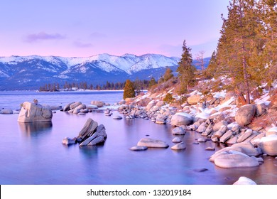 Lake Tahoe in winter.