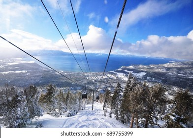 Lake Tahoe in winter, top view from Gondola; USA