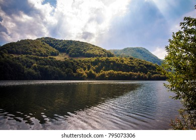 Lake Tarnita is a reservoir located in Cluj County, Romania, between the communes of Rasca, Marisel and Gilau, west of Cluj-Napoca. There is a large Dam there. Autumn landscape, fall in September.