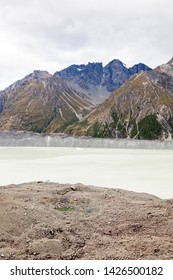 Lake Tasman at the foot of Mount Cook - a glacial lake in a glacier valley above Lake Pukaki. Mount cook is the tallest mountain in New Zealand and a very popular attraction for locals and tourists.