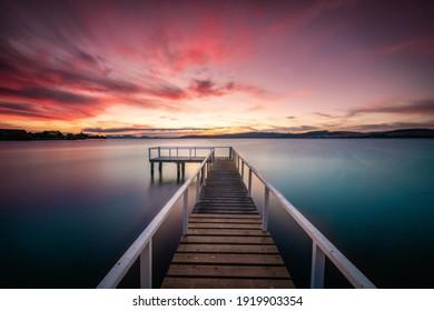 Lake Taupo Landscape North Island New Zealand Sunset