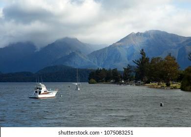 Lake Te anau and beautiful mountains in background in Te Anau in South island in New Zealand