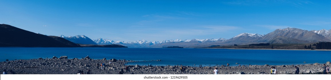LAKE TEKAPO , 22 MAY 2018 , NEW ZEALAND . Beautiful panoramic view at lake tekapo. This lake is one of most popular in New Zealand. Many tourist came here to visit .
