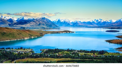 Lake tekapo from the air